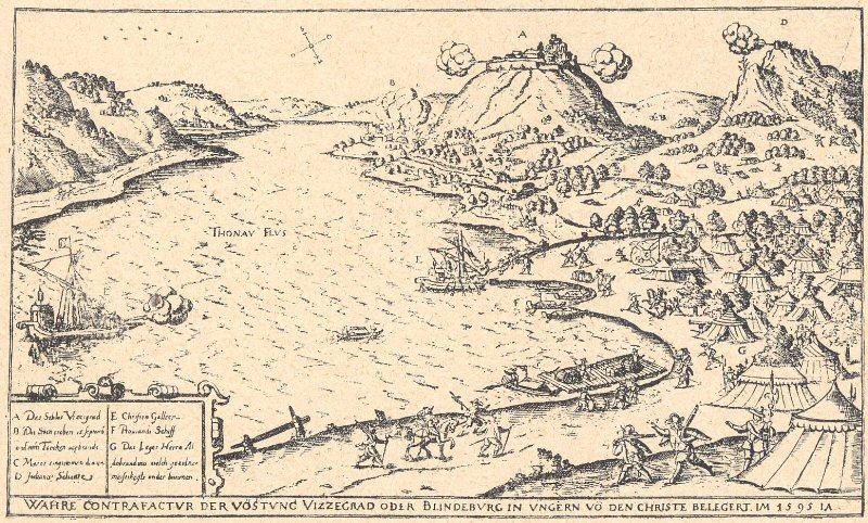 d25720b6b1 Visegrád ostroma 1595-ben. A) Visegrád vára. B) A város. C) Nagy-Maros. D)  Sáncz. E) Keresztény gálya. F) Élelmező hajó. G) Aldobrandini tábora.