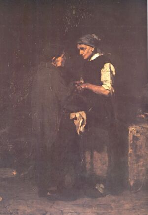 Búcsúzkodás, 1873, Olaj, fa, 83X69,5 cm, Magyar Nemzeti Galéria