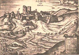 Az egri vár látképe korabeli metszeten
