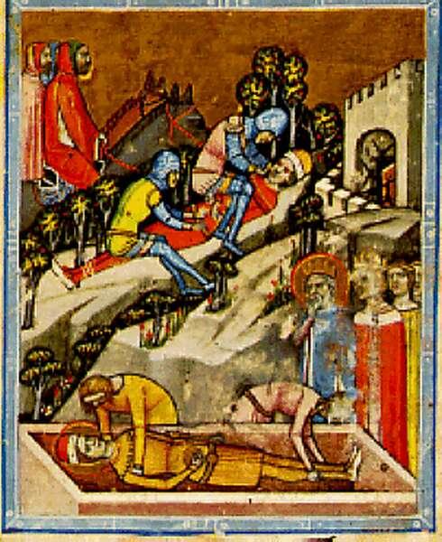Begravelsen av prins Emerik og blindingen av Vazul (før 1360), fra Chronicon Pictum i Nasjonalbiblioteket Széchényi i Budapest