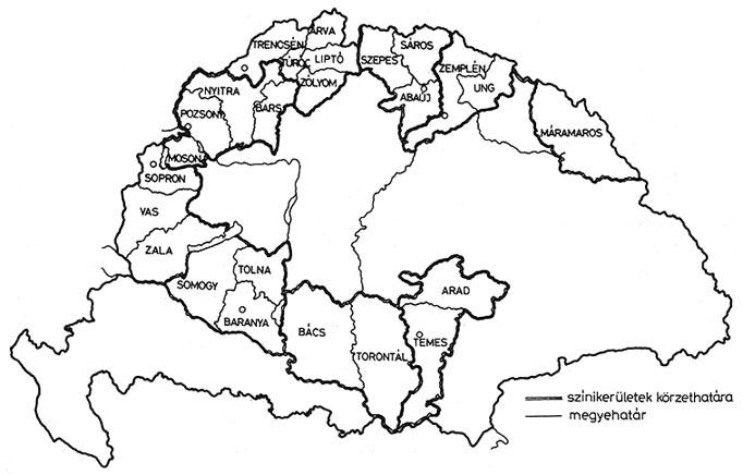 magyarország térkép 1848 Magyar színháztörtéI. 1790–1873 / 6. A VÁNDORSZÍNÉSZET  magyarország térkép 1848