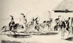 1. Betyárok találkozója a csárdánál (Hortobágy. Hessen-Philippstahl akvarellje, 1830 körül)