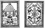 Váralmási csempék: jegenyefás minta K. 1905 felírással, és a leveleken minta 1905 K. felírással (v. Kolozs m.)