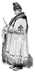 Férfi kötözött aljú subában (Karcag, Szolnok m., 20. sz. eleje)