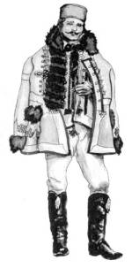 Férfi rókamálas mentében (Torockó, v. Torda-Aranyos m., 20. sz. eleje)
