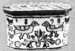 Spanyolozott, karcolt díszítésű szaru sótartó (Baranya m., 1890) Bp. Néprajzi Múzeum