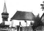 Középkori eredetű református templom 18. sz.-i fatoronnyal (Menyő, v. Szilágy m.)