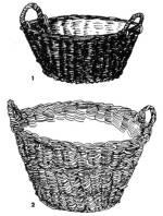 Vesszőfonás: 1. krumpliszedő kosár, 2. porciós kosár (Átány, Heves m., 1950-es évek)