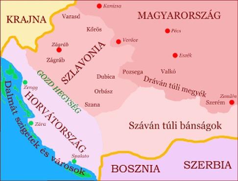 Magyar-horváth perszonálunió térképe