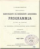 A Selmeczbányai Magyar Királyi Bányászati és Erdészeti Akadémia programmja az 1897-98. tanévre