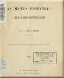Hajnik Imre: Az örökös főispánság a magyar alkotmánytörténetben