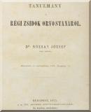 Rózsay József: Tanulmány a régi zsidók orvostanáról