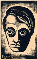 ADY ENDRÉT ÁBRÁZOLÓ KÉPES LEVELEZŐLAP (Ferencz J. 1941-ben készült linómetszetének felhasználásával) - Országos Széchényi Könyvtár/ Plakát és Kisnyomtatványtár: Klap. 45e_Irodalom/8